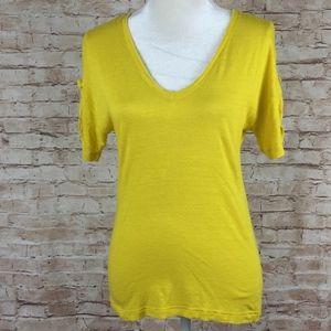 Yellow Lacoste linen blend V-Neck tee shirt 36